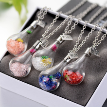 Europe fashion Wish bottle Necklace Pendants Transparent Glass necklaces chain items free shipping luxuries Jewelry best gift