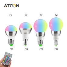 1Pcs Magic RGB LED Bulb lamp E27 E14 5W 7W AC85V-265V 110V 127V 220V LED Holiday lighting For Decor Romantic Home Night light