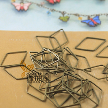 (300 pieces/lot) wholesale antique bronze plated brass material metal rhombus shape connector jump ring jewelry findings qy1906