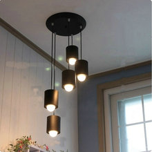 Modern Led pendant light for home dining room with iron black white red pink color(China)