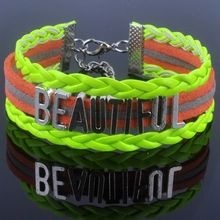 BEAUTIFUL bracelet Antique SILVER Alloy BEAUTIFUL Alphabet Charm Korea Cashmere Leather Bracelet Bangle XY160122