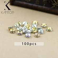 Nova 100 pcs Ouro Prata Cristal Rhinestone Rondelle Spacer Beads DIY 4mm 5mm 6mm 8mm 10mm(China)