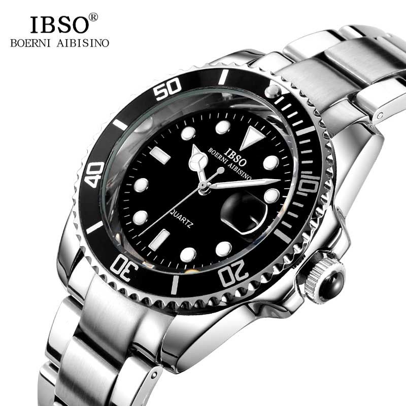 IBSO Mens Watches Top Brand Luxury Stainless Steel Multifunction Sports Quartz Watch Men Relojes Hombre 2017 Relogio Masculino<br>