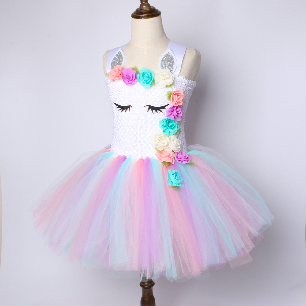Kids Flower Girl Party Unicorn Tutu Dress Rainbow Wedding Bridesmaid Princess US