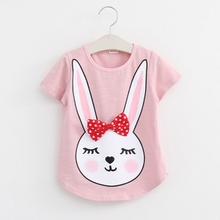 New Summer 2016 Baby T Shirts for girls Cotton Short Sleeve Rabbit cartoon Print Brand Tees Spring Kids cute Tops Girl T-shirt