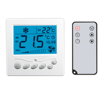 AC24V remote control fan coil thermostat, cooling and heating thermostat for motorized valve or air damper, 3 fan speed