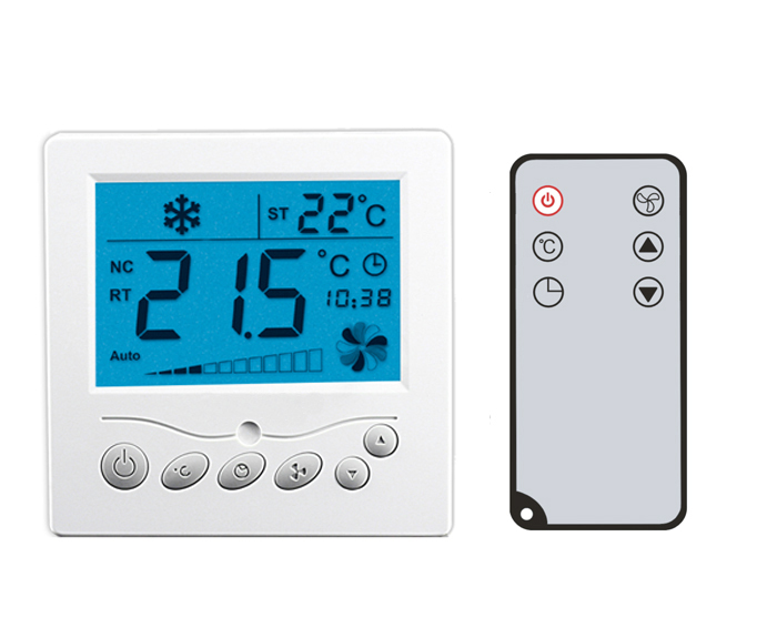 AC24V remote control fan coil thermostat, cooling and heating thermostat for motorized valve or air damper, 3 fan speed<br>