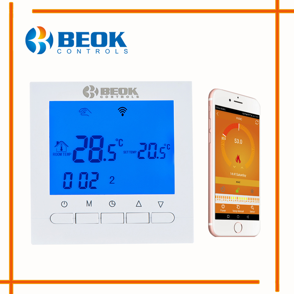 BEOK BOT-313WIFI 3A Gas Boiler Heating Wifi Thermostat APP Remote Controls Thermostats Regulator Blue Backlight Programmable<br>