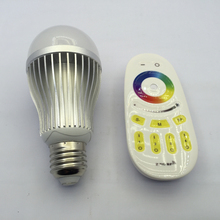 2.4G RF 9W RGBW AC85-265V Aluminum Type LED Bulb with wireless 4-zone remote controller(China)