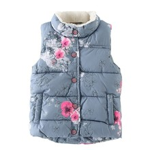Kid Girls Coat Outerwear Floral Printed Streetwear Fashion Winter Vest Baby Girls Coat Jackets Baby Outerwear