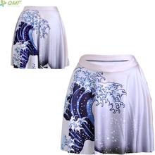 The Great Wave Off Kanagawa Print Retro Fashion Novelty Women Summer Shorts Skirts Casual Harajuku Mini Skirt Gothic Punk 2017(China)