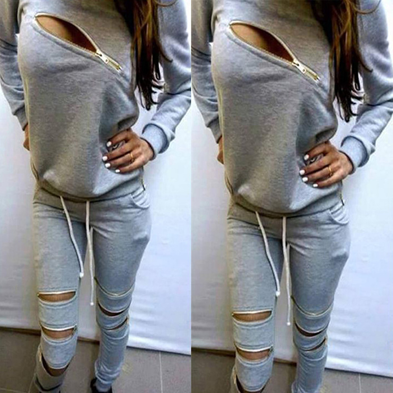 Hoodies Sweatpants Womens Sets Casual 2 Pieces Womens Clothing Spring Tracksuits Sportswear Female Zipper Hole Set