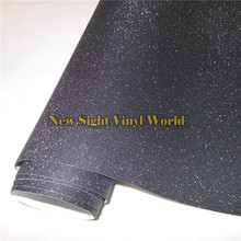 High Quality Black Sparkle Glitter Sand Vinyl Film Roll Wrap Air Free Phone Laptop Computer Skin Cover Size:1.52*30M/Roll(China)