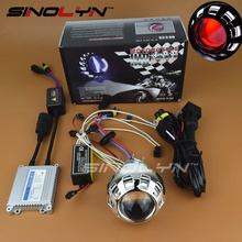 Motorcycle Headlight Mini 2.0 inch Angel Devil Eyes Halo HID Bi-xenon Lens Projectors Xenon Headlamp Light Retrofit Kit H4 H7