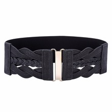 Women Ladies Girls Fashion Wide Braided Polyurethane Leather Black Stretchy Elastic Waist Belt Waistband Elastic Waist Belt(China)