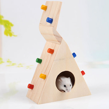 Hamster Toy Pet Rat Mouse Colorful Scaling Ladder Funny Natural Wooden Toys for Hamsters Cage(China)