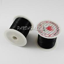 Elastic Fibre Wire Fit Beading Jewelry Cord, Black, 0.8mm, 10m/roll