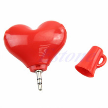 Cute 3.5mm Stereo Audio Headset Heart Shape Headphone Splitter Connector Adapter(China)