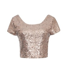 Buy Sexy Metal Sequin Crop Tops Women Backless Fashion Crop Top Women Summer O-neck Top Tees Short Sleeve Sequin Velvet T shirt for $5.31 in AliExpress store
