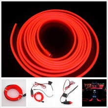 2016 New Hot Univesal 2M RED EL-Wire 12V Car Interior Decor Fluorescent Neon Strip Cold light Tape &Wholesale(China)