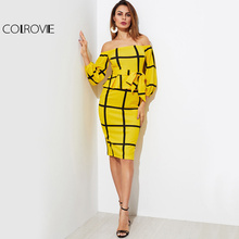 COLROVIE Plaid OL Peplum Dress 2017 Elegant Self Tie Waist Women Yellow Midi Autumn Dress Fashion Empire Off Shoulder Work Dress(China)