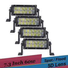 5D Lens 7 Inch LED Bar 60W Car 4x4 Truck Motorcycle SUV Off Road LED Work Light Bar Fog Light 12v 24v Driving Light Spot Flood