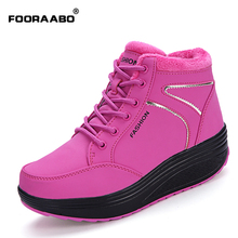 2016 winter waterproof women Boots cotton super warm shoes women's winter platform ankle boots for women height increasing Boots