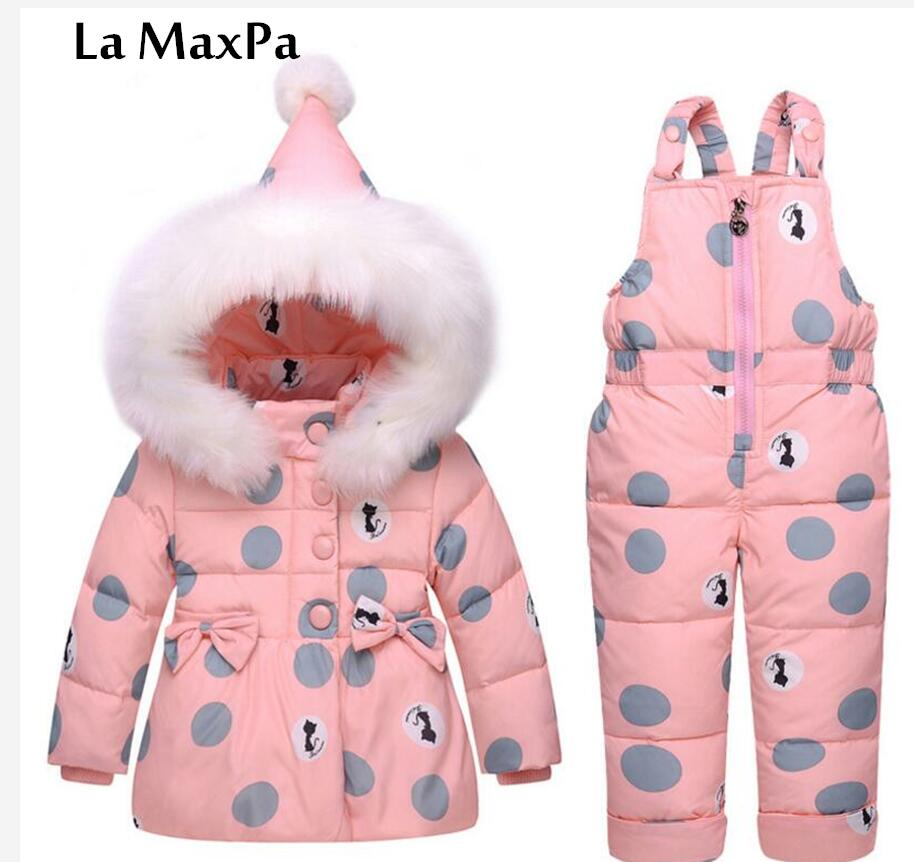 La MaxPa Childrens down jacket new two-piece girl 1-3 year old baby fur collar baby girl winter coat<br>