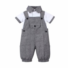2017 new summer baby boy clothes set short sleeve white T shirt +gary Coveralls gentleman baby rompers jumpsuit infant Outfits