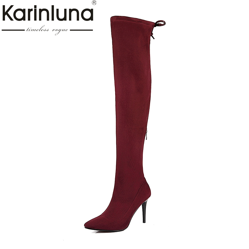 KARINLUNA Large Size 34-43 Pointed Toe Long Boots Sexy Thing High Heels Elastic Party Shoes Woman Over The Knee Boots Women<br>