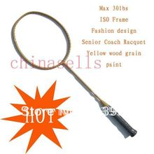 6pcs Senior Coach Racquet Badminton Racket Racquet Full Carbon wood grain ,max30lbs,free 1 sweatband,1 line GB(China)