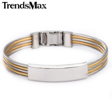Trendsmax 6mm Mens Boys Stainless Steel Silver Gold Black Tone Bangle Bracelet Promotion Wholesale Jewelry Gift KGM09