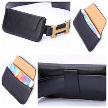 Lichee Pattern Thin Hang Hip Belt Clip Cover Holster Black Flip PU Leather Purse Businiss Universal Phone Case For Most Phone