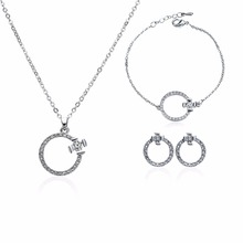 3 Pcs/Set Windmill Circle Rhinestone Earrings Bracelet Necklace Set Crystal Diamond Women Fashion Jewelry Hot #254331