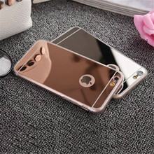 Luxury Plating Mirror TPU Silicon Frame Case For iphone 5 5S SE 6 6S 4.7 7 6 6S Plus 5.5' Cover Soft Acrylic Back Phone Bag Case