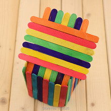 New Colored Wooden Popsicle Kids Make Ice Cream Hand Crafts Art Lolly Cake Ice Cream Tools good gift for kids