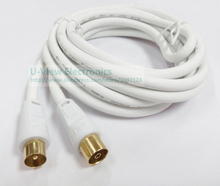 3M Cuprum 4N OFC Coaxial Audio/Video TV PAL Male to PAL Female RF Cable WHITE COLOR/High Quality/Free Shipping/2PCS