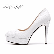 Arden Furtado 2018 new style shoes for woman genuine leather high heels 11cm white wedding shoes pumps stilettos platform shoes(China)