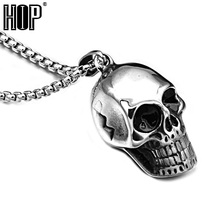 HIP Punk Gothic Titanium Stainless Steel Biker Retro Alien Skull Skeleton Pendants Necklaces for Men Jewelry(China)