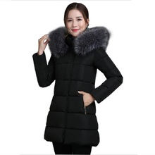 2017 New Brand Warm Thick Winter Jacket Women Long Casual Slim Fur Collar Winter Women Coat Cotton Down Jacket Parkas Plus Size(China)