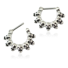 1 Pc Fashion Skull Design  Nose Ring Punk Stylish Septum Clicker Stainless Steel piercing body jewelry belly