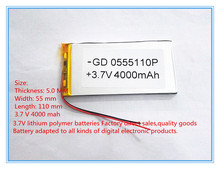 best battery brand Free shipping 3.7 V lithium polymer battery 4000 mah large-capacity PDA tablet PC MID 5055110