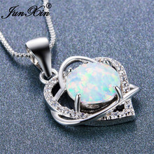 JUNXIN Romantic 925 Sterling Silver Filled Double Heart Statement Necklace Jewelry Round CZ White Fire Opal Pendant Necklaces(China)
