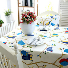 High Quality Cotton thick canvas table  cloth foliage cute cartoon owl bird table cloth