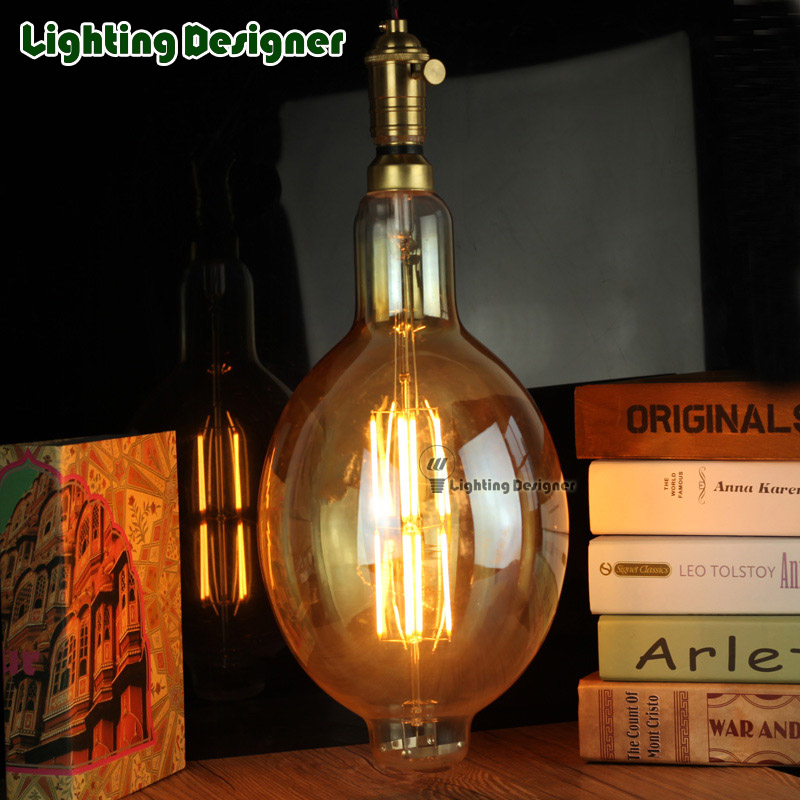 big size edison bulb led light amber retro saving lamp vintage filament bulb Edison ampul lamp E27 8W lighting BT180 amber glas<br>