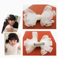 White Ribbon Pearl Hair Accessories Korea Princess Hair Clips Girls Flowers Hair Bows Ornaments Hairpin Kids Gift Headwear