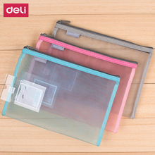 Deli A4 stationery office & school supplies extremely simple chancery PVC Net yarn folder document bags for paper documents(China)