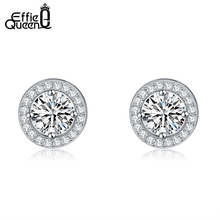 Effie Queen Hot Sale Women Earring Stud 0.75ct CZ Zircon Crystal Jewelry Stud Earrings with Round Yellow Clear Zircon DE104(China)