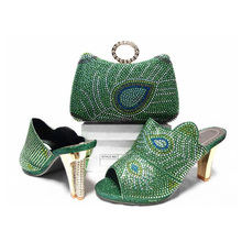 Fashion Elegant Italian shoes and bag set spike heels slingbacks pumps to match wedding dress women peep toes shoes in green