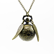 Fashion Woman Lady Pendant Accessory Little Golden Snitch Antique Steampunk Pocket Watch